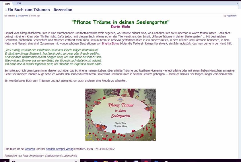 """Wiki-Seite mit einer Rezension zum Buch von Karin Biela """"Pflanze Träume in deinen Seelengarten"""""""