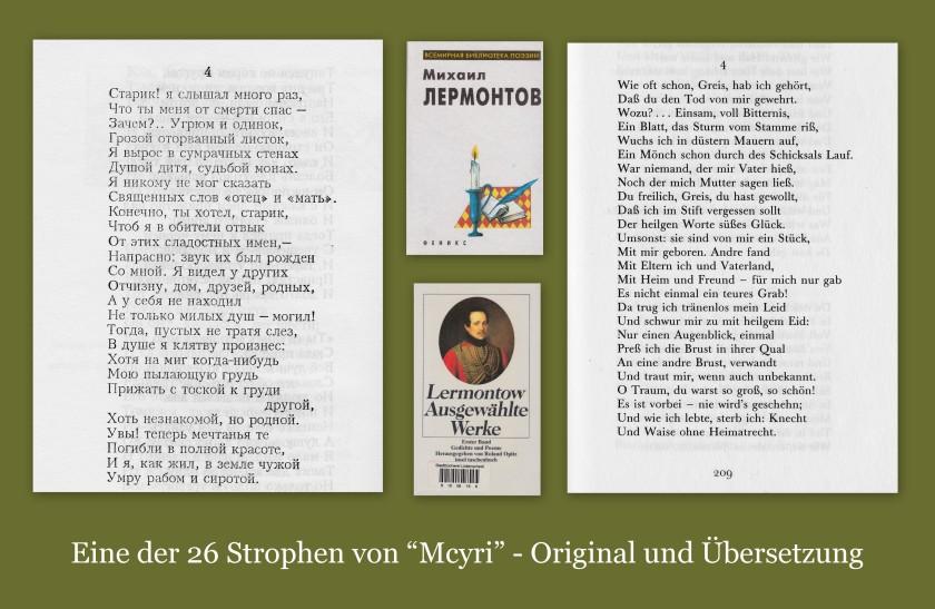 """Eine der 26 Strophen von """"Mcyri"""" (Мцыри) - Original und Übersetzung"""