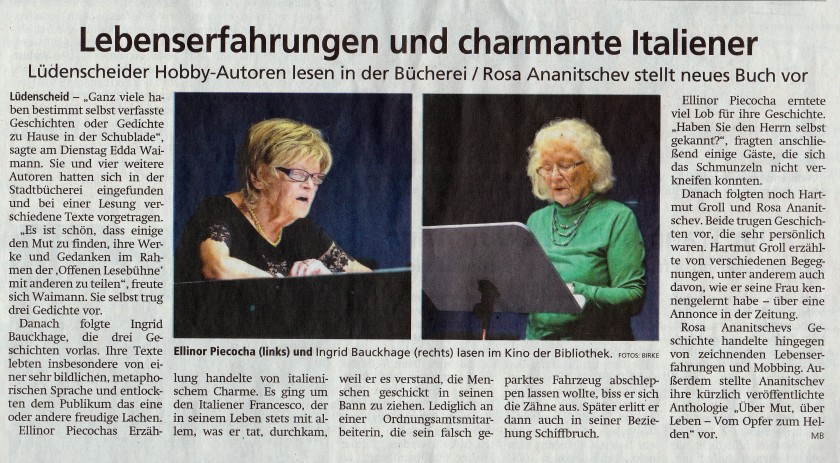"""Artikel in """"Lüdenscheider Nachrichten"""" über die """"offene Lesebühne"""", vom 06.06.2019"""