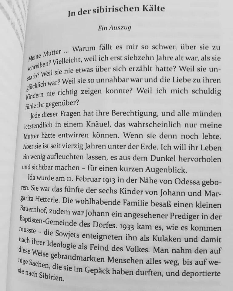 """Auszug aus dem autobiografischen Buch von Rosa Ananitschev """"In der sibirischen Kälte"""""""