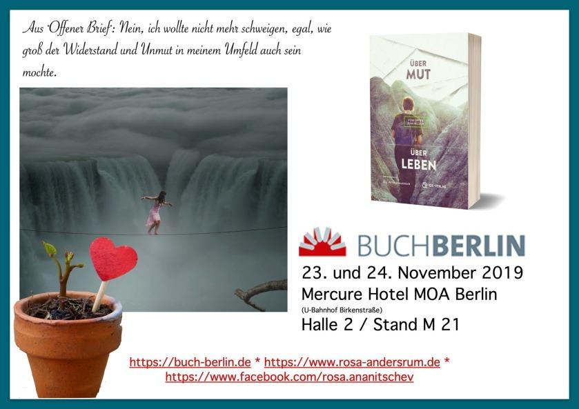 """Anthologie """"Über Mut - Über Leben"""" mit """"Offener Brief"""" von Rosa Ananitschev auf der Buchmesse Berlin 2019"""