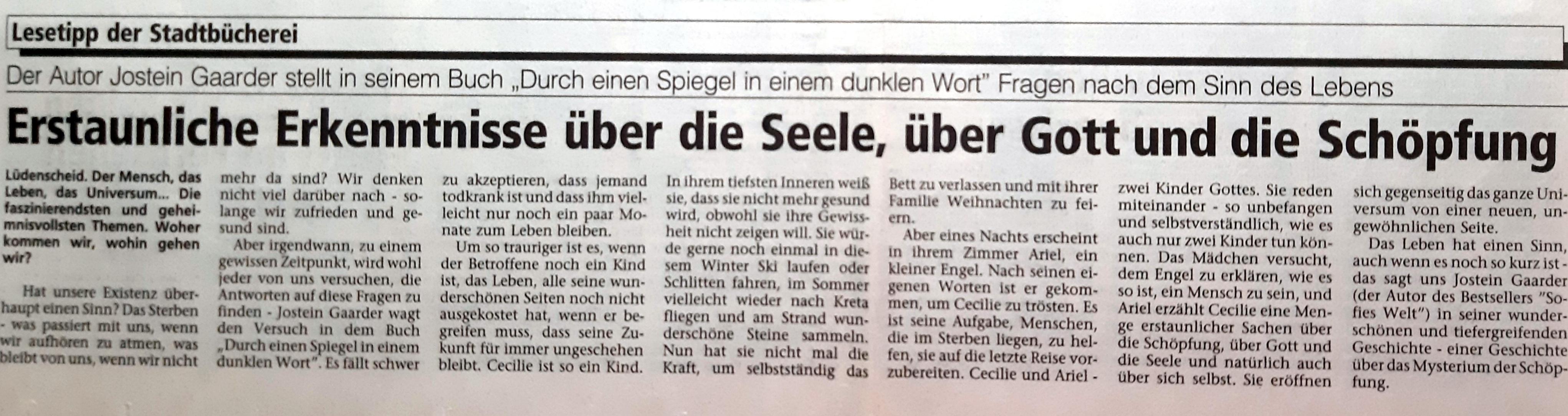 Zeitungsartikel - Lesetipp der Stadtbücherei Lüdenscheid