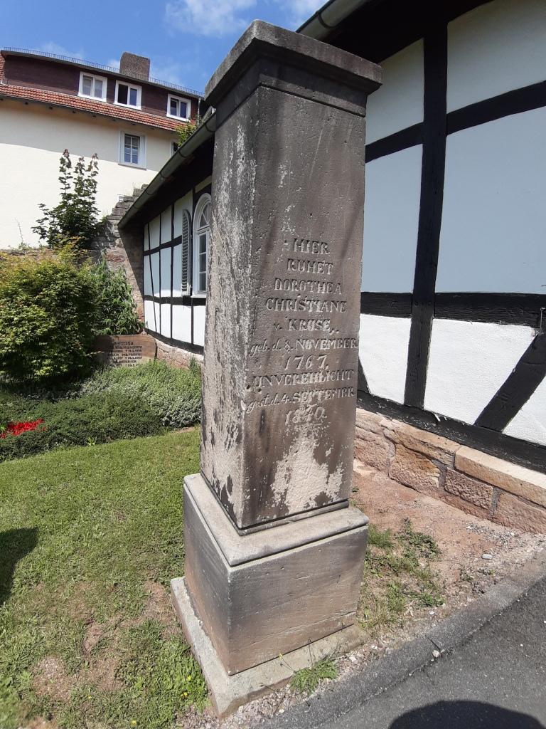 Inschrift: Hier ruhet Dorothea Christiane Kruse, geb. d. 8. November 1767, unverehelicht, gest. d. 4. September 1840